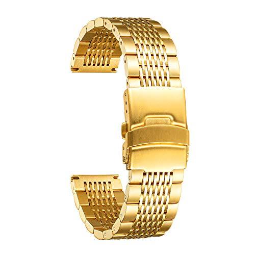 BINLUN Cinturino per Orologio in Acciaio Inossidabile Uomo 18mm 20mm 22mm 24mm Cinturino Orologio in Acciaio Donna Oro Nero Argento Oro Rosa Cinturino di Ricambio per Orologio in Maglia Metallica