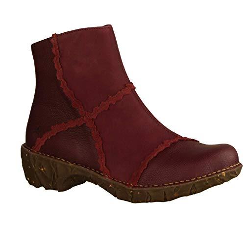 El Naturalista Damen Stiefeletten NG59 Yggdrasil Rioja (Rot) - ungefütterte Stiefelette - Damenschuhe modische Stiefelette/Boots, Rot, Leder (ledermix), absatzhöhe: 30 mm rot 748059