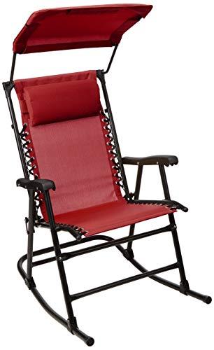 AmazonBasics - Faltbarer Schaukelstuhl mit Sonnenschutz - Rot