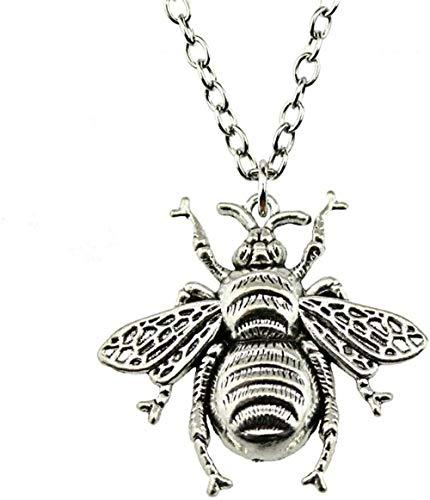 DUEJJH Co.,ltd Halskette 1 Stück Biene Antike Bronze Antik Silber Farbe 40X38Mm Anhänger Halskette Schmuck Mode Mode Halskette Für Frauen Dropshipping