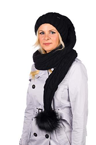 Birendy XXL Beanie AA Mütze, Zipfelmütze inklusive Schal, Pudelmütze, Wintermütze mit großer Fellbommel aus Fellimitat. Extra Lang mit weichem Fleece abgefüttert (Schwarz)