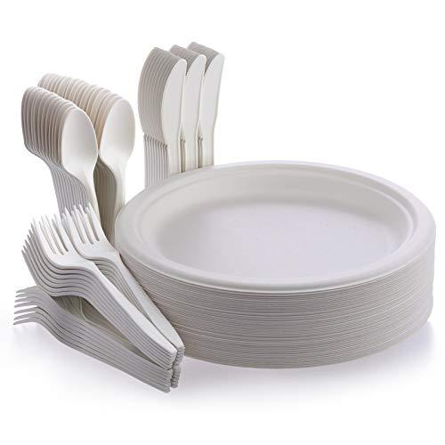 Fuyit Platos Desechables, 200 Piezas Compostables Vajilla, Incluye Biodegradable 50 Platos, 50 Tenedores, 50 Cuchillos y 50 Cucharas para Fiesta, Picnic, Camping