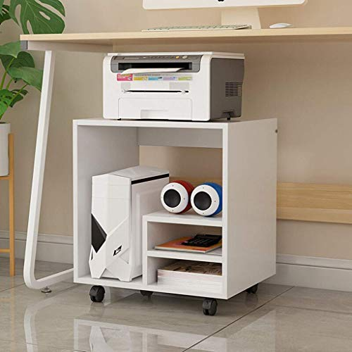 DFBGL Printer Stands Office Laser Multifunction Printer Copier Scanner Shelf Stand Rack Multifunctional Storage Rack Under The Table CPU Rolling Stand with Locking Caster Wheels