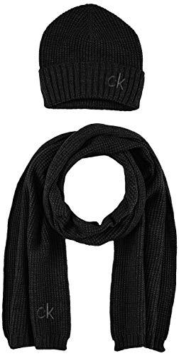 Calvin Klein Knitted Beanie + Scarf 40X180CM Juego de Accesorios de Invierno,...