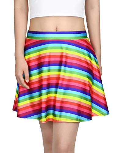 HDE Skirts for Women High Waist Mini Skater Skirt Casual Flared Printed Skirt Rainbow