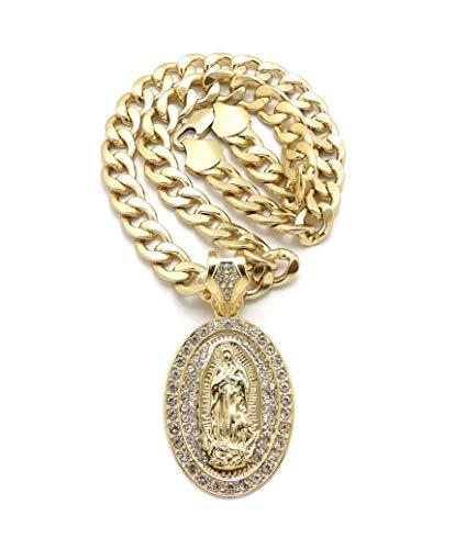iJewelry2 Colgante ovalado de Virgen María con cristales transparentes incrustados en tono dorado collar de cadena cubana dorado