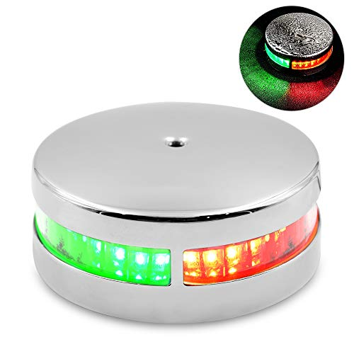 Acelane Boat Light Bi-Color Bow Light LED Navigation Lights Stainless Steel Red and Green Sailing Lights 12V IP66 Waterproof Deck Mount for Marine Boat Pontoon Yacht Skeeter