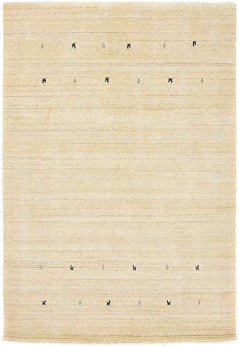 CarpetFine: Tappeto di Lana Gabbeh Loom Uni 80x150 cm Bianco - Monocromatico