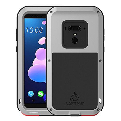 Simicoo HTC U12 Plus Hülle Hybrid Aluminium Metall Stoßfest Bumper Schutz Militär Starkes Silikon Schraube Gorilla Glas staubdicht stoßen Heavy Duty Gehäuse Handyhülle für HTC U12 Plus (Sliver)