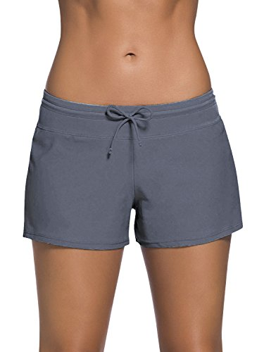 Dolamen Damen Badeshorts Bikinihose Shorts Trunks Badeanzug Bauchweg Badekleid mit verstellbarem Tunnelzug Mini Bikini Slip Beachwear, Boyleg Stil (Large, Grau)