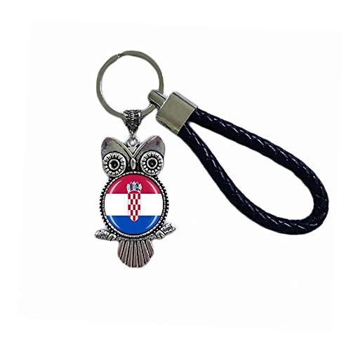 Schlüsselanhänger mit Kroatien-Flagge, Eulenform, Glas, Kristall, Souvenir, Dekoration, für Männer und Frauen, Anhänger, Zubehör, Geschenk