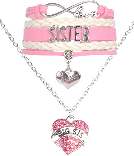 Sister Bracelet and Big Sister Necklace Pink, Sister Jewelry, Sister Charm Bracelet, Big Sister Necklace for Girls, Gift for Sisters, Big Sister Jewelry, Perfect for Christmas Gift, Birthday Gift, Bab