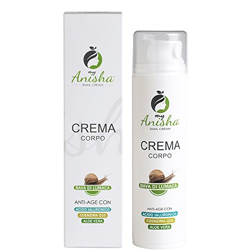 Crema Corpo Bava di Lumaca con Acido Ialuronico, Coenzima Q10 e Aloe Vera Gel 30 Ml My Anisha ideale per...