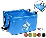 Outdoor Faltschüssel 15 Liter | Faltbare Camping Waschschüssel aus langlebigem Planen Gewebe|...