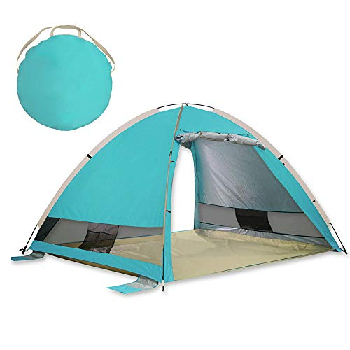 MGKMG Pop-Up 2-3 Person Strand-Zelt automatische Sonnensegel, UV-Proof Compact Zelt, geeignet für Strand, Garten, Camping, Angeln, Picknick,Sky Blue