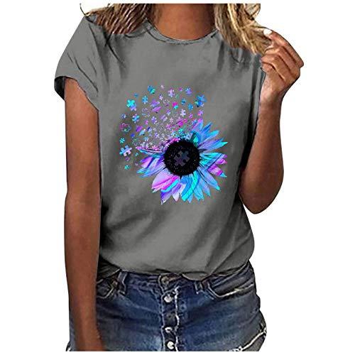 CCOOfhhc Camiseta para mujer, tallas grandes, túnica, verano, manga corta, cuello redondo, adolescentes, niñas, con estampado de diente de león, para adolescentes y niñas A gris. M