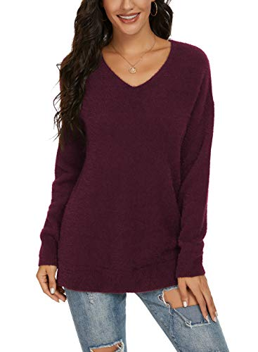 QIXING Women's Casual V-Neck Long Sleeves Side Split Loose Fit Fuzzy Knit Pullover Sweater Tops Wine Red-Medium