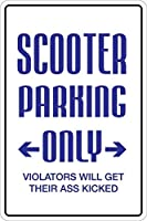 165グレートティンサインスクーター駐車場駐車場のみ143秒。サインアルミメタルサイン壁装飾12x8インチ