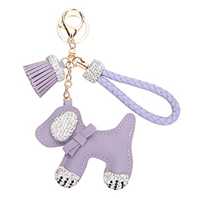 Fawziya Dog Keychain With Tassle Rhinestone Keychains-Purple