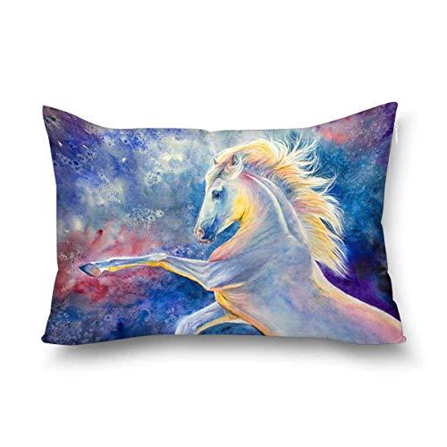 Funda de almohada decorativa para decoración de pared, diseño de caballo blanco frío, tamaño Queen 50 x 70 cm, rectangular con cremallera, protector de almohada para decoración del hogar