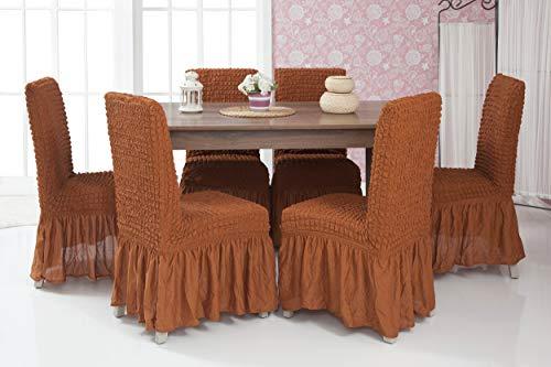 Mixibaby Lange Stretch Stuhlhusse Stuhlbezug Elastische Husse Dekoration Stuhl Husse aus Elastik-Stoff für universelle Passform, Farbe:Rostbraun