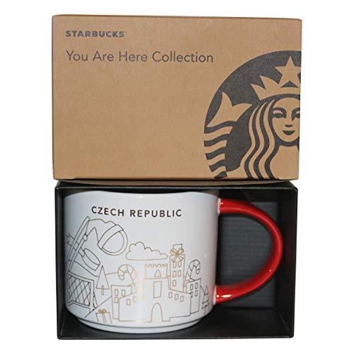 Starbucks City Mug Prague You are Here Collection Prague Winter Collection - Taza de café navideña, color rojo y blanco