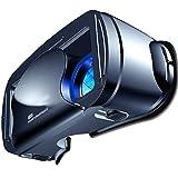 R-STYLE 5~7インチの大型スマホ対応 VRヘッドセット 3D VRゴーグル 瞳孔/焦点距離調節 ブルーライトカットレンズ Bluetoothコントローラ付 120°視野角 (ブラック)