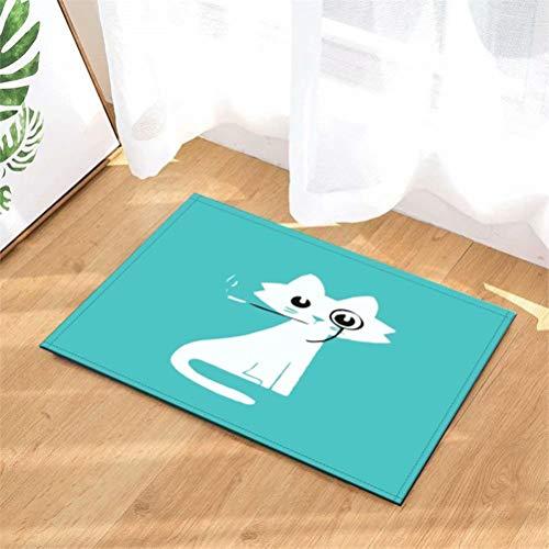 N-brand Türmatte Teppich Innen-/Vordertür/Dusche Badezimmer Eingangsmatten Teppiche Fußmatte,Kinder Badematte,Bodeneingänge,40 cm x 60 cm.Rauchende Katze.