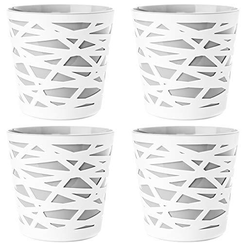 2friends 4er Set Blumentopf Übertopf, 2 in 1, stabilem Kunststoff, mit herausnehmbarem Einsatz, Durchmesser 15 cm, Höhe 15 cm, grau/weiß