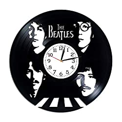 Kovides Rock Band Clock The Beatles Gift Lp Vinyl Retro Record Wall Clock Vintage Birthday Gift for Woman John Lennon Room Art The Beatles Clock Rock Music Art Xmas Gift Idea for Man
