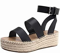 The Drop Women's Listilla Espadrille Flatform Ankle Strap Sandal, Faux Leather Black, 6.5