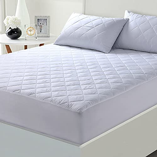 Caroline Shatuik Quilted Extra Deep Mattress Protector Double |Fitted Mattress Cover | Anti Allergy and Breathable Mattress Topper Pad Double Bed size (137 x 190+30 cm)