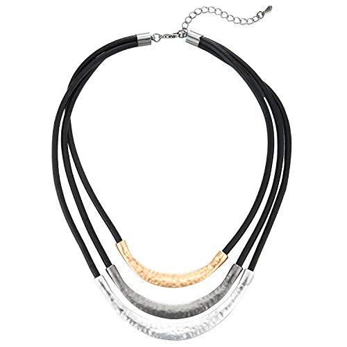 COOLSTEELANDBEYOND Tres Filas Negro Cuero Statement Babero Gargantilla Choker Collar con Oro GrisPlata Textura Metal Encantado Colgantes