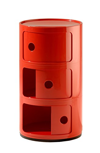 Kartell Componibili, 3 Elements, Rot, Runde Basis