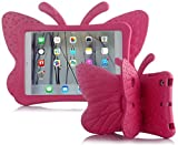 Feitenn iPad 8th Generation Case for Kids 10.2 inch 2020/2019, Shockproof Kickstand Butterfly Cover Non-Toxic EVA Foam Wings Kid-Proof Rugged Bumper Boy Girl Gift for iPad 7th 8th Gen 10.2'' - Rose