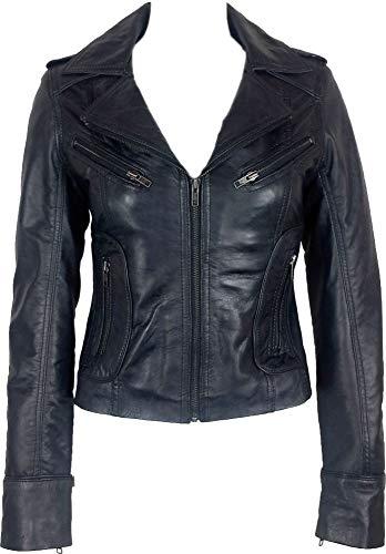 UNICORN Femmes Réel en cuir Veste Noir Ciré #Z6 Taille 42
