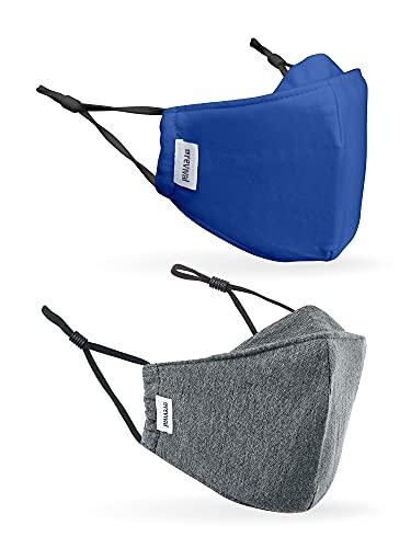 CoRevival Kinder-Gesichtsmaske, 2er-Pack, antimikrobiell, wiederverwendbar, Baumwolle, verstellbar, atmungsaktiv, Revival Kindermaske (grau, blau)