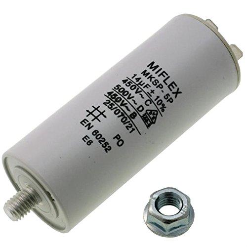 AnlaufKondensator MotorKondensator 14µF 450V 35x83mm Stecker M8 ; Miflex ; 14uF