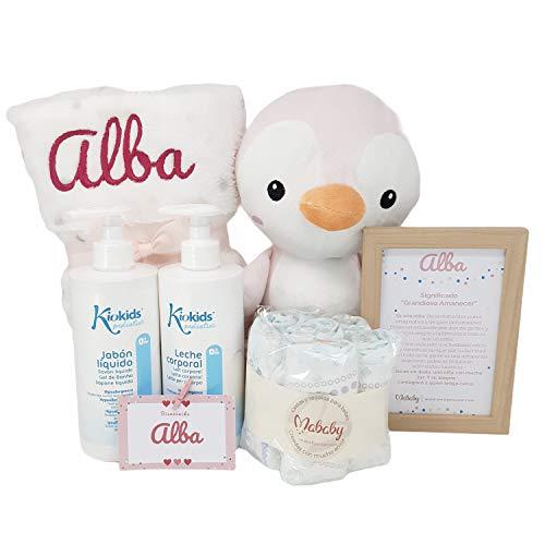 My Blanket de Mababy | Set Regalo para Recién Nacido Personalizado, Completa canastilla de bebé bordada con el nombre. Regalos para bebés con Manta y Peluche Personalizados (Pingu Rosa)
