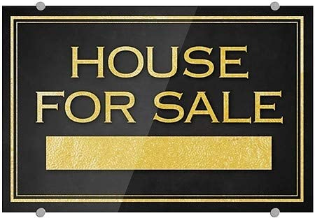 House for Sale 36x24 Classic Gold Premium Brushed Aluminum Sign CGSignLab