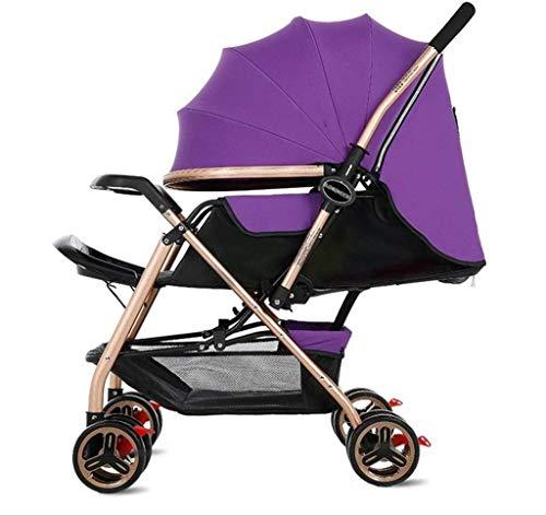 APcjerp El Cochecito recién Nacido Puede Sentarse y Dormir Durante 1 Mes - 4 años de Edad, 4-Rueda de carreta (Color: Azul) (Color : Purple)