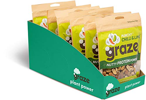 Graze Punchy Chilli and Lime Nutty Protein Power - Vegan Savoury Healthy Snack Sharing Bag - 118g (Pack of 6)