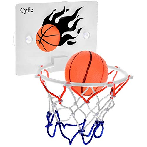 Cyfie Suction Cup Basketball Hoop Toy, Office Desk Game Bathroom Toilet Slam Dunk Gadget with Pump and 2 Balls for Toddler Kids Boys Girls Indoor Outdoor