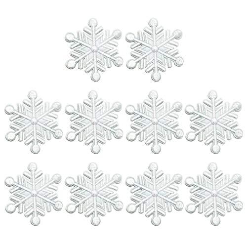 VALICLUD 20 Piezas Parche de Copo de Nieve Invierno Nieve Hielo Bordado Hierro en Parches de Aplicación Ropa de Navidad Accesorio de Disfraz