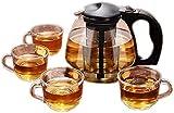 aipipl en Filtro de Vidrio Resistente al Calor Limpieza de Vidrio Tetera Tetera de Flores Juego de té Juegos de té de Kung...