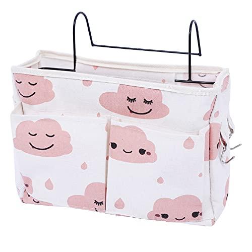 Bett Organizer Bett Tasche mit Darhthaken Hängetasche Hochbett Aufbewahrungstasche für Buch, Magazin, Handy, Kopfhörer Bett Aufbewahrung(Rosa)