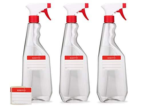 3 botellas pulverizadoras de 750 ml de PET con pistola pulverizadora, atomizadores vacíos con boquilla pulverizadora ajustable (chorro/pulverización), p.ej. para plantas/flores, limpieza, taller
