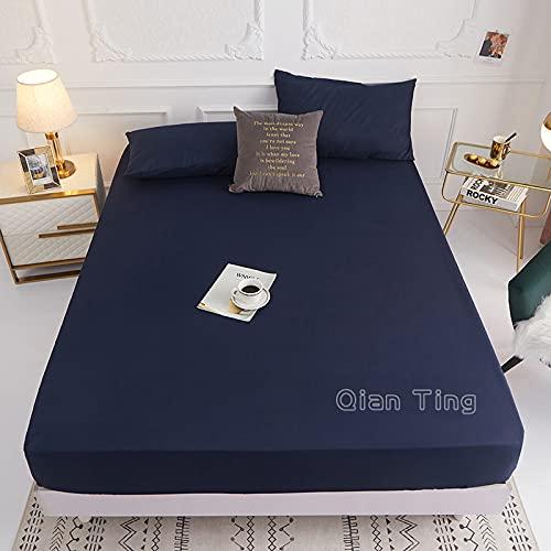 Lamcomt 1 funda de colchón de 100% poliéster sólido con cuatro esquinas con banda elástica para cama (funda de almohada de solicitud) (color: zangqing, tamaño: fundas de almohada de 50 cm x 70 cm)