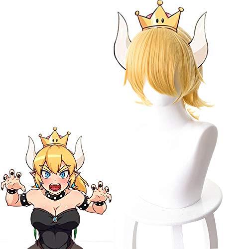 Super Mario Bros. Bowsette Princess Bowser Peluca de cosplay para mujer Pelo sinttico resistente al calor Amarillo Prpura Anime Juego PelucaBowsette