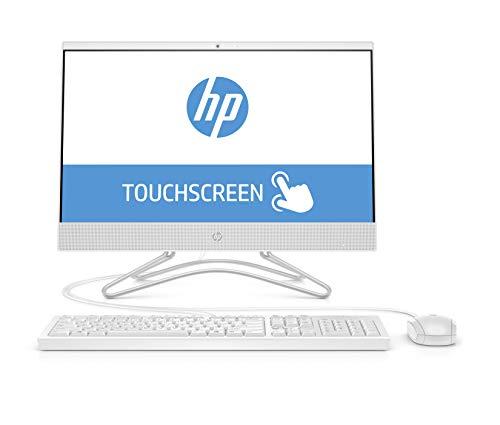 """HP 22-c0027ns - All in One - Ordenador de sobremesa 21.5"""" FullHD Táctil (Intel Celeron J4005, 4GB RAM, 256GB SSD, Intel Graphics, sin sistema operativo), color blanco - teclado QWERTY Español y ratón"""